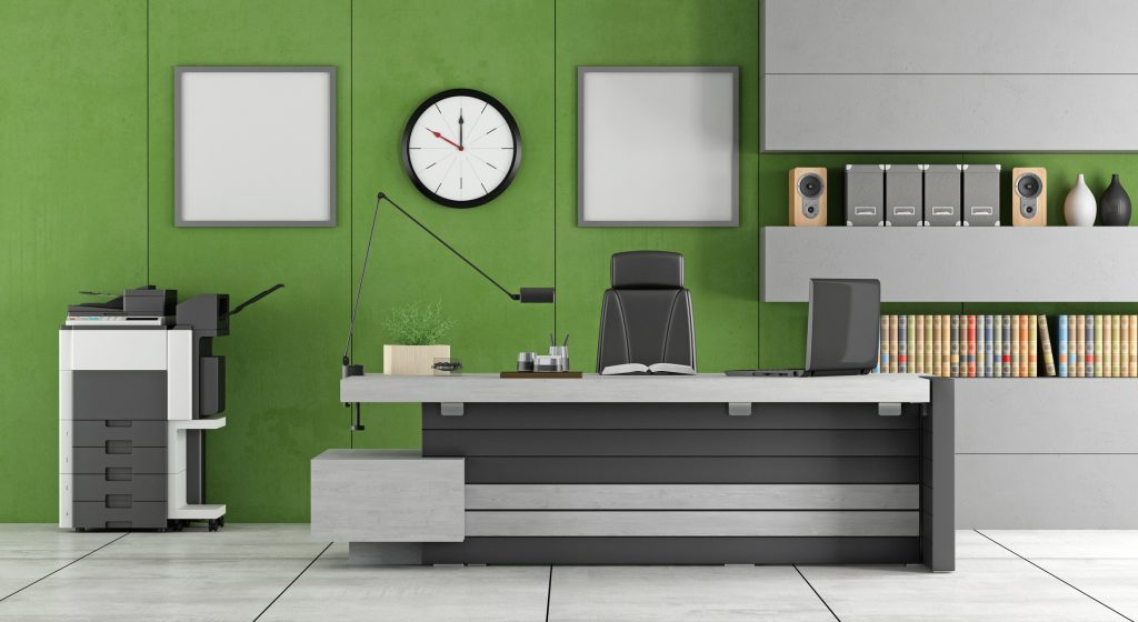 office with green walls - psychology of the colour green