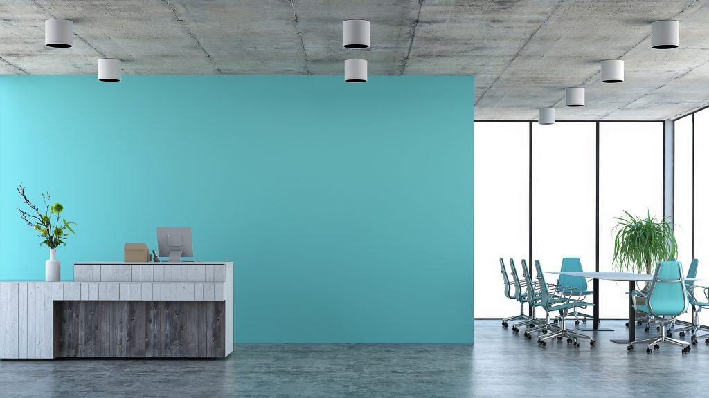 office with blue walls - the psychology of the colour blue
