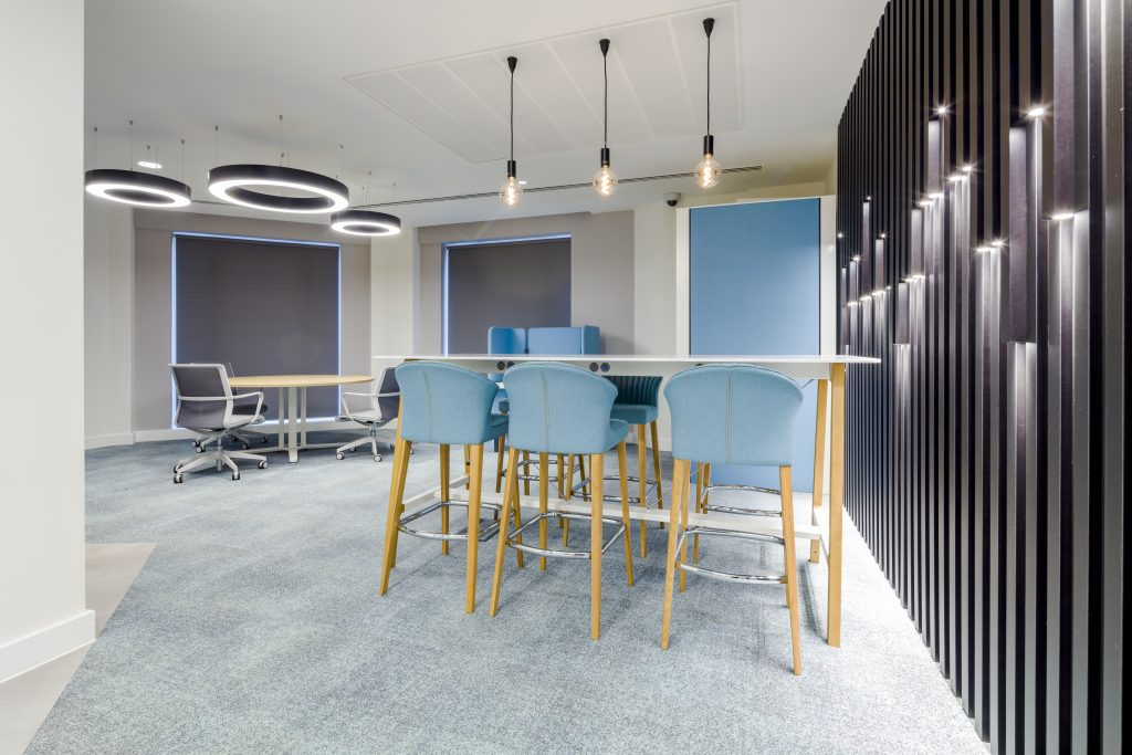 large office fit out and office design in London - communal area